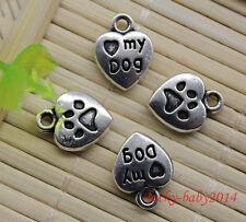 20/60/100pcs retro style Lovely dog palm heart alloy charm pendants DIY 13x10mm