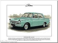 FORD CORTINA Mk1 1962-66 - Fine Art Print - A4 size - Standard Deluxe Super & GT