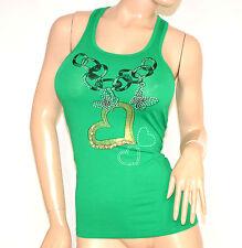 CANOTTA TOP VERDE donna maglietta sottogiacca strass zip oro cotone elastica A18