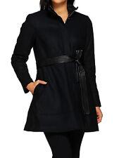 G.I.L.I. Wool Peplum Coat with Faux Leather Belt BLACK