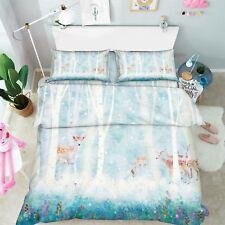 3D Woods Deer Kids 78 Bed Pillowcases Quilt Duvet Cover Set Single Queen King CA