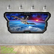 Station spatiale autocollant mural fenêtre 3D look-planète galaxie étoiles chambre à coucher Z356