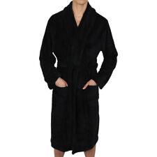 Mens-ROBE -Bathrobe- Shawl or Hood  - Coral Fleece  Heavy Weight USA - Black