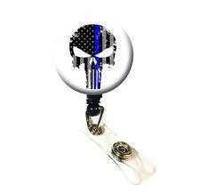 Police Thin Blue Line ID Badge Retractable Badge Reels / Holder - Punisher Skull