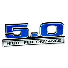 5.0 Liter 302 Engine High Performance Emblem Badge with Chrome & Blue Trim