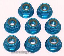 RC Flanged Nyloc Anodised Aluminium Wheel Nuts M3 M4 M5 Light Blue Coloured