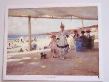 "Paul Michel Dupuy  FIGURES ON A VERANDA BY THE BEACH (22"" x 29"")"