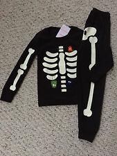 NEW Gymboree Halloween 2015 Boy Black Glow Dark skeleton pajamas pj costume NWT