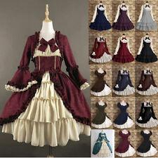 Medieval Renaissance Women Victorian Lolita Ruffle Short Sleeve Dress Costume
