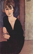 Amedeo Modigliani - Woman in black leaning Vintage Fine Art Print