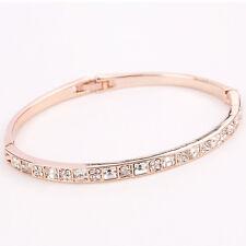 Womens Stainless Steel  Bangle White CZ Crystal Fashion Bracelet + Box #BL171