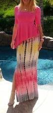 Maya Antonia-PLUS SIZE-Tie-Dye Hot Pink-Yellow-Grey Maxi Skirt w/Slit-Extra Long