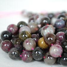Grado ab Natural Multi-Colour Turmalina cuentas de piedras preciosas redondas 4 mm 6 mm 8 mm 10 mm