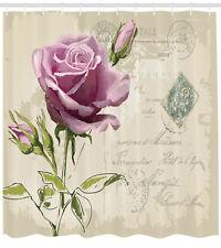 Rose Shower Curtain Vintage Delicate Artsy Print for Bathroom