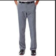 NEW MENS HAGGAR PERFORMANCE MICROFIBER DRESS PANTS MICRO GRAY PLAID 52 29 36 30