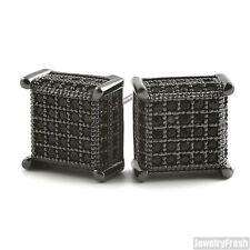 Black Finish 360 Fancy Cube Earrings for Men Flawless VVS