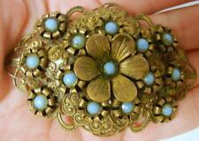 Antique Ajoure Art Nouveau Art Deco 1895-1935  Turquiose Pin Brooch