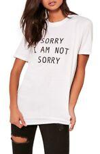 """MISSGUIDED """"Désolé je ne suis pas Désolé"""" T-shirt blanc (M45/6)"""