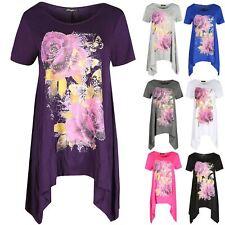 Women Hanky Hem Top Rose Ladies Butterflies Waterfall Swing Long Dress Plus Size