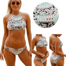 2019 Aztec Low Rise Striped Wheel Padded High Neck Bikini Bathing Suit XL-2XL US