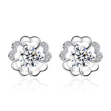 925 Sterling Silver Natural Crystal Plum Flower Ear Stud Earrings For Women Gift