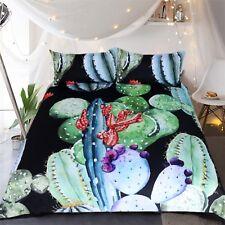 3D Green Cactus 42 Bed Pillowcases Quilt Duvet Cover Set Single Queen King AU