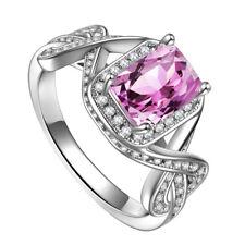 Women Fashion 925 Silver Jewelry Emerald Cut Pink Sapphire Wedding Ring Size6-10