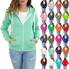 Ladies Womens Side Pockets Hoodies Sweatshirt Jacket Solid Fleece Hoody Zip Top