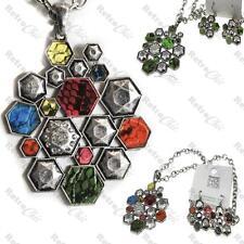 BIG a nido d'ape necklace&earrings Set Argento Fashion pendant&chain Pelle di Serpente Multi