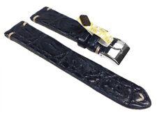 Vintage-Alligator Ersatzband Uhrenarmband Alligatorleder Band Dunkelblau 24549S