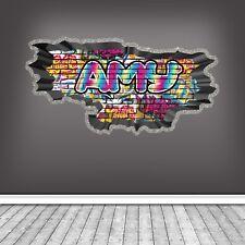 CUSTOM GRAFFITI PERSONALISED NAME BRICK WALL STICKER ART MURAL DECAL WSDPGN124