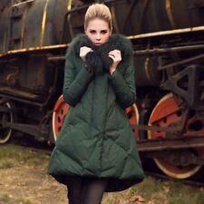 Giubbotto Imbottito Pelliccia Piumino Moda Invernale Donna Nero Verde F522