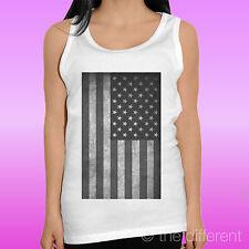"CANOTTA T-SHIRT DONNA "" BANDIERA AMERICANA FLAG USA "" CANOTTIERA IDEA REGALO"