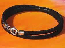 Ladies 4mm Black printed leather & sterling silver bracelet by Lyme Bay Art