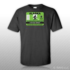 Alaska Sasquatch Hunting Permit T-Shirt Tee Shirt Free Sticker Bigfoot AK