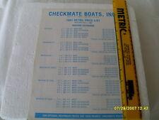 .CHECKMATE1991 RETAIL PRICE LIST DEALER BOAT BROCHURE/ CATALOG OUTBOADS & I/O'S