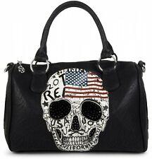 styleBREAKER sac forme bowling drapeau américain dessin tête de mort et strass