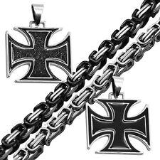 Set Königskette + Anhänger Eisernes Kreuz Halskette Herren Biker XXL Halskette