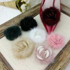 1 Paar Nerz Pelz Bommel Schuhe Clips flauschig Ornament Form Rose Absatz Stiefel