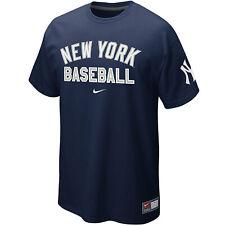Nike New York Yankees Block Font Arch Wordmark Logo Away Practice 12 T-Shirt NEW