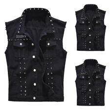 Summer Men's Punk Waistcoat Outwear Rivet Denim Vest Sleeveless Jean Jackets
