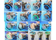 MTN Circuit 19mm Momentary Lock Waterproof Push Metal Switch Button Light 12V