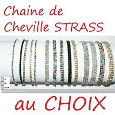 CHAINE de Cheville STRASS élastique Chevillère Largeur & COULEUR au CHOIX