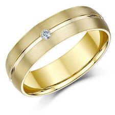 9ct Oro Amarillo Anillo Boda Pedida Diamante mate y pulido