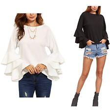 Maglia Manica Lunga con Balze Donna Woman Long Sleeve T-shirt 561045 P