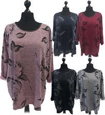 New Italian Ladies Women Lagenlook Leaf Print Full Sleeves Top Dress Plus Size