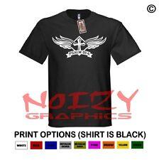 Cross Wings #7 Christian Shirt Black T-Shirt Jesus Religious Psalm 91:4 Rock