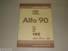 Product Bulletin / Einführungsschrift Alfa Romeo 90 Typ 162, Stand 1984