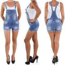 Damen Latzhose Jumpsuit Overall Hot Pants Shorts Sommer Stretch Jeans Hose Blau