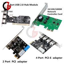 2/4/5 Ports PCI/PCI-E Express USB 2.0/3.0 10/100Mbit/s RJ45 Hub Card Adapter